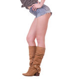 Womanish legs in country style Royalty Free Stock Image