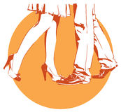 Womanish and masculine legs dance stock illustration