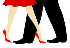 Womanish and masculine legs dance a tango Stock Photography
