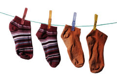 Womanish socks. Hang on a rope Royalty Free Stock Images