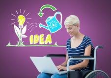Womanj deficiente na cadeira de rodas com os gráficos coloridos da ideia Foto de Stock Royalty Free