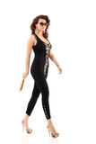 Womanl beautiful fashion walking full length Stock Image