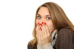 Womanl con cosegna la bocca Fotografia Stock Libera da Diritti