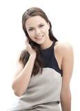 Womanl elegante joven feliz y sonriente al aire libre Fotografía de archivo