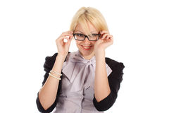 The womanl in glasses on the white background Royalty Free Stock Photos