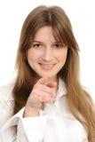 Womanl que señala en usted Imagen de archivo libre de regalías