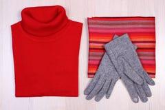 Womanly одежды на деревянной предпосылке, одежде на осень или зиме Стоковое Изображение RF