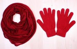 Womanly одежды на деревянной предпосылке, одежде на осень или зиме Стоковое Фото