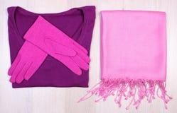 Womanly одежды на деревянной предпосылке, одежде на осень или зиме Стоковая Фотография RF