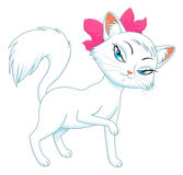 Womanly cat. Cartoon female white cat on the white background Stock Photo