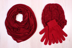 Womanly clothes on wooden background, clothing for autumn or winter. Womanly clothes on wooden surface plank, gloves, cap and shawl or scarf, warm clothing Royalty Free Stock Photos