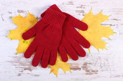 Womanly gloves and autumnal leaves on old rustic wooden background. Womanly gloves and autumnal leaves, warm clothing for autumn or winter, old rustic wooden Royalty Free Stock Photography