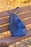 Womanly handbag on bench in autumn park. Womanly leather blue handbag lying on bench in autumn park Royalty Free Stock Photography