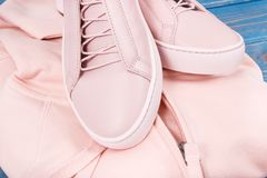 Womanly sweatshirt or hoodie and leather shoes on old boards. Womanly pink leather shoes and sweatshirt or hoodie on old blue boards Royalty Free Stock Photo