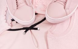 Womanly shirt, sweater and leather shoes. Womanly pink leather shoes, sweater and shirt Royalty Free Stock Image