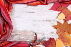 Womanly woolen shawl and autumnal leaves with copy space for text, old rustic wooden background Stock Image