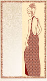 Womanly young. In an evening dress stock illustration