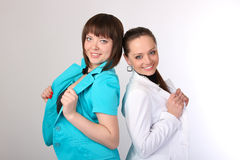 Womans в платье назад к задней части Стоковые Фотографии RF