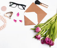 Womans accessories on white background. Stock Image