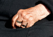 Womans aged hand Stock Photography