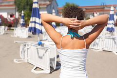 Womans Back, Hands Over Head Royalty Free Stock Image