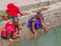 Womans bathing in the Ganges at Rishikesh Royalty Free Stock Photography
