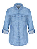 Womans blue denim shirt on invisible mannequin isolated on white Royalty Free Stock Image