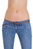 Womans body wearing jeans over white Royalty Free Stock Photography