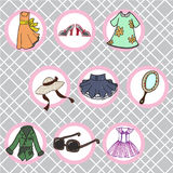 Womans clothes. Set of fashion object on a vintage background Royalty Free Stock Photo