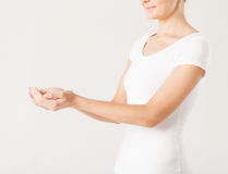 Womans cupped hands Royalty Free Stock Image