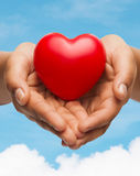 Womans cupped hands showing red heart Royalty Free Stock Images