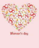Womans day. The Postcard in the form heart with numeral, vegetable element and inscription. The Vector illustration Stock Photos