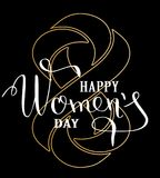 Womans Day concept design. Greeting card with golden geometrically impossible infinity symbol. Lettering greeting card. Vector illustration EPS10 Royalty Free Stock Photo