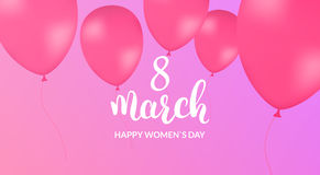 Womans Day greeting card. 8 March holiday banner. Balloons and calligraphy Stock Photos