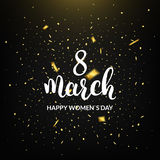 Womans Day greeting card. 8 March holiday banner. Confetti and calligraphy Stock Image