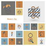 Womans Day Icon Set Royalty Free Stock Images