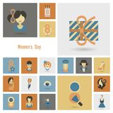 Womans Day Icon Set. Design Elements for International Womens Day March 8, Icons. Vector stock illustration