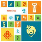 Womans Day Icon Set Stock Photos