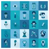 Womans Day Icon Set Stock Image