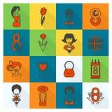 Womans Day Icon Set Stock Photo