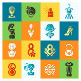 Womans Day Icon Set Stock Photography