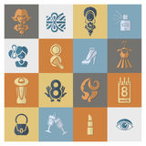 Womans Day Icon Set. Design Elements for International Womens Day March 8, Icons. Vector royalty free illustration