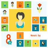 Womans Day Icon Set Stock Photo