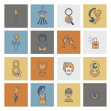 Womans Day Icon Set. Design Elements for International Womens Day March 8, Icons. Vector. Minimum Points stock illustration