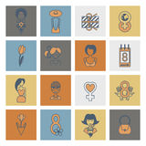 Womans Day Icon Set. Design Elements for International Womens Day March 8, Icons. Vector. Minimum Points royalty free illustration