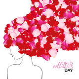 Womans day international holiday concept with rose petals instead of hair.  Stock Photography