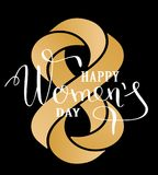 Womans day lettering greeting card. Calligraphic pen inscription on a black background with geometrically impossible. Infinity sign. Vector illustration EPS10 vector illustration