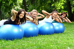 Womans doing fitness exercises Royalty Free Stock Images