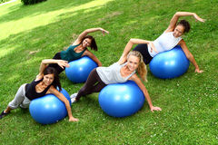 Womans doing fitness exercises Stock Photography