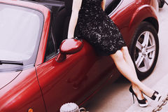 Womans down and car Royalty Free Stock Photography
